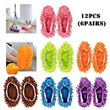 F-BBKO Mop Slippers Shoes Cover 12pcs (6 Pairs) Soft Washable Reusable Microfiber Foot Socks,Floor Dust Dirt Hair Cleaner for Bathroom Office Kitchen House Polishing Cleaning