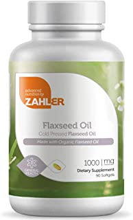 Now Vegetarian! Zahler Flaxseed Oil, Organic Flax Seed Oil, Cold Pressed Flax Oil Supplement, Certified Kosher, 90 SoftGels