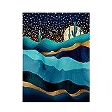 Society6 SpaceFrogDesigns Indigo Desert Night Poster, 18x24, Multi