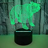 FREEZG lamparitas de noche dormitorio Animal niños creatividad creatividad lámpara de noche con ilusión óptica de 7 colores que cambia con control remoto luz de noche visual LED para regalos de cumpl