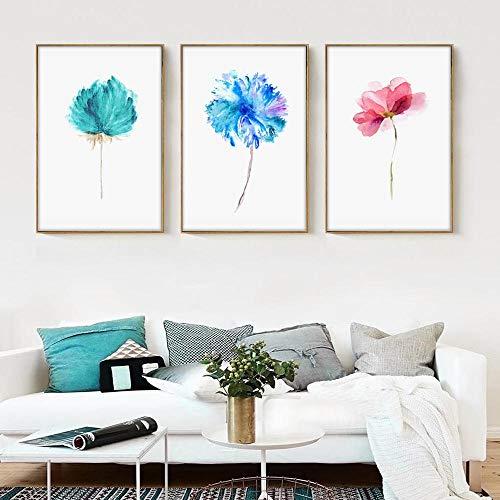 IGZAKER Aquarel Mooie Plant Bloemen Bloem Rose Canvas Schilderij Kunst Poster Foto Muur Home Modern Decor-40x60cmx3pcs geen frame