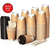 100 Kraft Vasos Desechables 360 ml de Doble Pared de Café para Llevar - Vasos Carton con Tapas y...