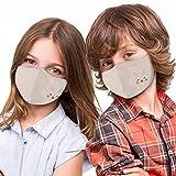 Alsino Mundschutz Stoffmaske Mund- und Nasenschutz für Kinder - waschbar und verstellbar - mit Motiv, perfekt für Schule und Freizeit (beige Punkte)