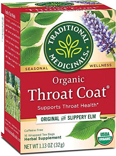 Pack of 6 x Traditional Medicinals Organic Throat Coat Herbal Tea - Caffeine Free - 16 Bags