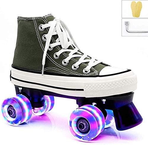 Alivisa Quad Aptitud elección de Deslizamiento Zapatos del Color Zapatos de Estilo Deportivo para niños Zapatos Niños Niñas Damas Junior,Destello Verde Rueda,37