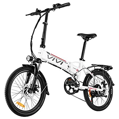 Vivi Folding Electric Bike, 350W Ebike 20'' Electric Bicycle, Adults E-Bike with Removable 36V 8Ah Lithium-Ion Battery, Professional 7 Speed Gears, Dual Disc Brakes