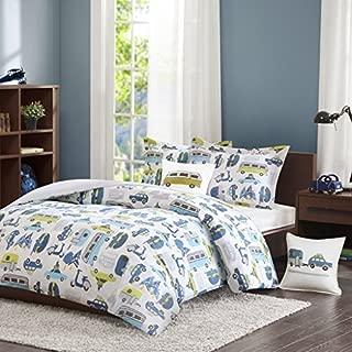 INK+IVY Kids Road Trip Twin Kids Bedding Sets for Boys - White Blue, Car – 3 Pieces Boy Comforter Set – 100% Cotton Kid Childrens Bedroom Comforters