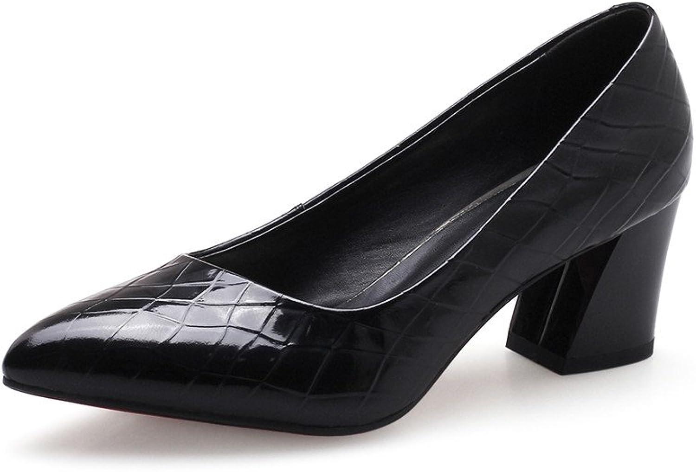 Nine Seven Genuine Leather Women's Pointed Toe Mid Cover Heel Handmade Slip On Pumps