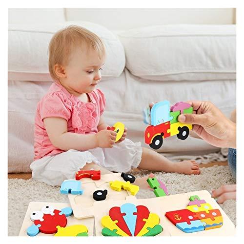 ZHIZI Juguetes para primera infancia Rompecabezas de madera, 16 tipos de rompecabezas de dibujos animados, colores brillantes y vivos, juguetes educativos amados por los niños