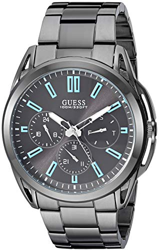 GUESS Gunmetal Stainless Steel Bracelet Watch with Day, Date + 24 Hour Military/Int'l Time. Gunmetal (Model: U1176G1)