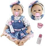 HRYEOY 22 Pulgadas 55 cm Hecho a Mano Reborn Baby Dolls Girl Suave Silicona Encantador Realista...