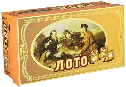 GMMH Russisches Lotto (Loto) Spielset mit Holzfiguren Bingospiel Familienspiel (Karton helll)