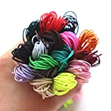 Tiumso 16 Colors 1mm Elastic Cord for Bracelet Making Jewelry Making Colorful Round Elastic Bands for Beading Elastic Rope Stretch Crafts Elastic Rope for Crafts DIY 5 Meters per Color