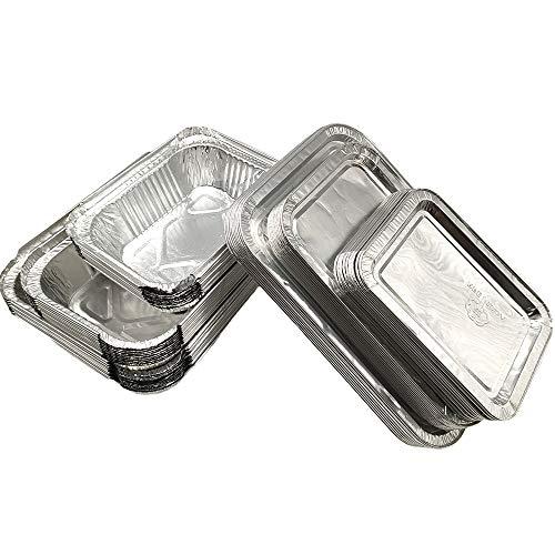 Amacoam 30 Stück Aluschalen mit Deckel, Aluschalen Eckig Aluschalen Grill Aluminium Schalen Alubehälter Grillschalen Tropfschalen Einweg 230ml 400ml 600ml