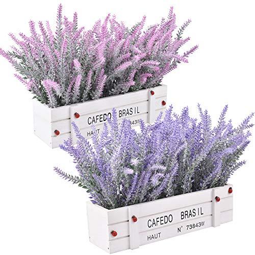 Pianta di fiori artificiali - Lavanda floccata artificiale in vaso, fiore di lavanda finto in vaso di legno per la decorazione dell'ufficio di nozze per feste a casa, 2 set