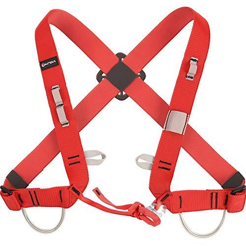 Yundxi Einstellbare Brust Klettergurte Brustgurt Sicherheit Gürtel Abseilausrüstung (Rot)
