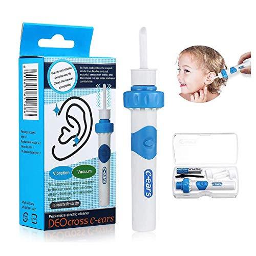 Q Grips Ohrenschmalz Entferner, Elektrisch Absaugung Ohrenschmalz Entferner Ohrenreiniger mit 2 Waschbaren Ersatzköpfen, Sicher Ohrwachs Entfernungs Tool Geeignet Für Kinder und Familie