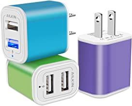 USB Power Adapter, Wall Plug, Ailkin 3-Pack 5V/2.1A Fast Charging Cell Phone Cube Home/Travel Wall Charger Block Box Brick Base for iPhone XS/XR/10/8/7, iPad, Samsung Galaxy, LG, HTC, More USB Plug