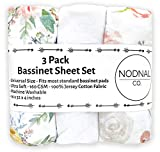 NODNAL CO. Pink Floral Bassinet Fitted Sheet Set 3 Pack 100% Jersey Cotton