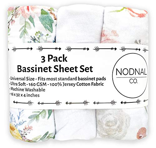 NODNAL CO. Pink Floral Bassinet Fitted Sheet Set 3 Pack 100% Jersey Cotton for Baby Girl - Peony and Eucalyptus Flowers 160 GSM Sheets