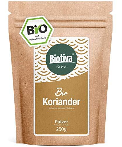 Koriander Bio gemahlen 250g - Hochwertigste Bio-Qualität aus dem Mittelmeerraum - 100% Bio-zertifiziert in Deutschland (DE-ÖKO-005) - Perfekt zu indischen und asiatischen Gerichten