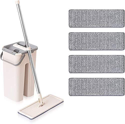Nitaar - Juego de fregona plana y cubo, doble lavado y limpieza en seco, incluye 4 almohadillas de microfibra lavables, color gris