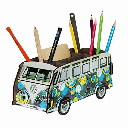 Werkhaus - Stiftebox VW-Bus T1 Bulli Verschiedene Modelle mit einem Bulli-Kugelschreiber (VW T1 - Popart Zirkel)