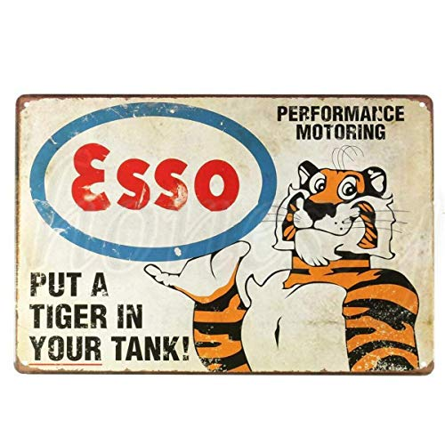 DGBELL Retro Tiger Cartel de Chapa Retro Vintage Placa de Hierro Pintura Aviso de Advertencia Cartel Retro Cafe Bar película