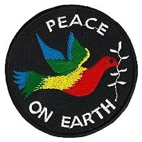 Peace on Earth Friedenstaube Aufnäher Regenbogenfarben 7,6 x 7,6 cm