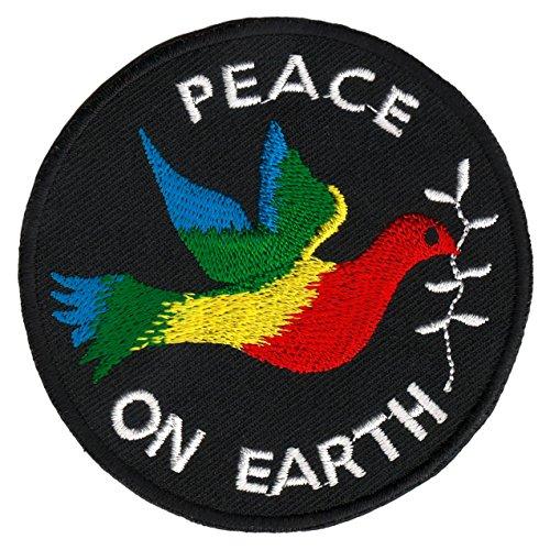 Peace on Earth Friedenstaube Aufnäher Bügelbild Applikation 7,6 x 7,6 cm