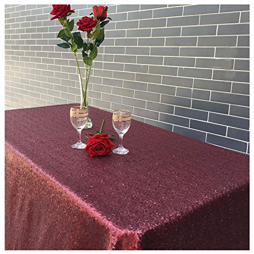 LQIAO Burgundy Sequin Tablecloth Sequin Fabric,120x200cm,More Size Options 50x80in