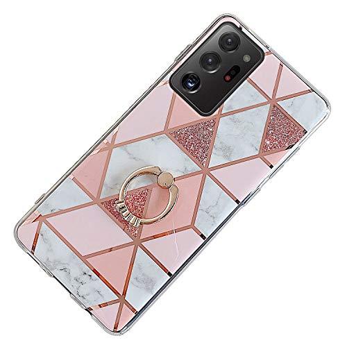 Herbests Kompatibel mit Samsung Galaxy Note 20 Ultra Hülle Bunt Marmor Muster TPU Silikon Handyhülle Glänzend Bling Glitzer Diamant Strass Ring Halter Ständer Crystal Case Tasche Schutzhülle,Rosa