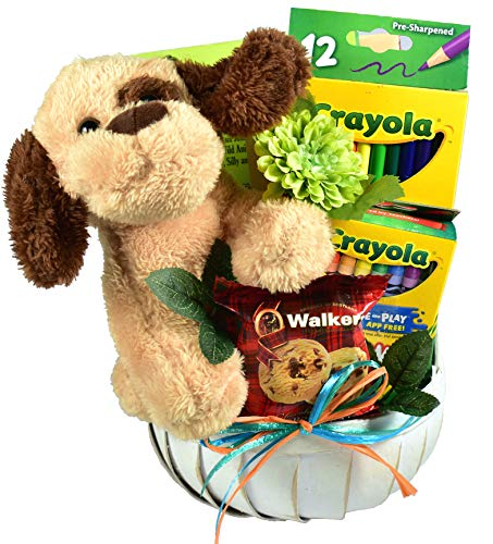 Gift Basket Village Just For Kids, Gift Basket For Children with Plush Friend, Crayons, Colored Pencils, Activity Book and Candy, 3 Pounds