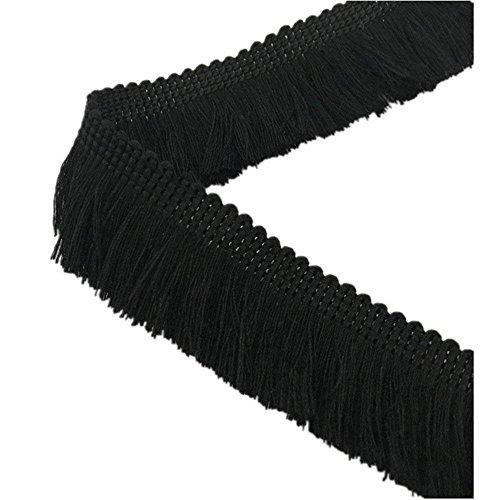 YEQIN 25mm Wide Cotton Fringe Tassel Trim 5 Yards (black)