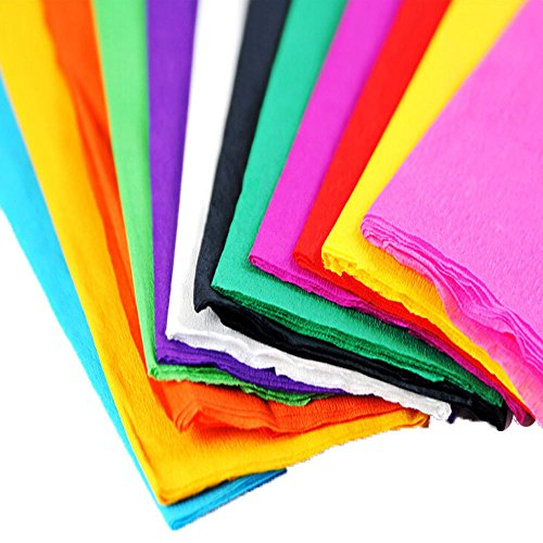 "Miraise 11pcs Coloured Crepe Paper For Art Craft Gift Wrap Or Florist 28"" x 20"" Assorted Colours (12 Colors Mixed)"