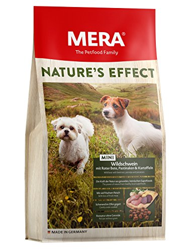 Mera Nature Effect Mini, graanvrij hondenvoer, premium droogvoer voor kleine honden met wilde zwijn, rode biet, pastinaken en aardappelen, 3er Pack (3 x 1 kg)