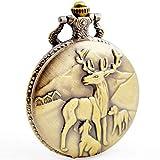 BOSHIYA Men's Pocket Watch Classic Vintage Quartz Watch Animal Deer Pocket Watch