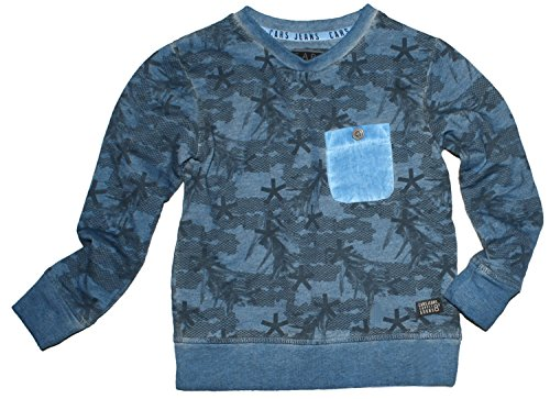 Cars Jeans BW Sweater mit Alloverdruck in Steel/Blau BOYS Modell PIAZZA Size 128