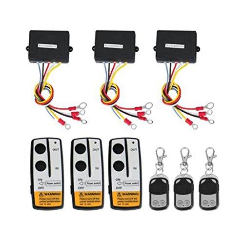 Lot de 3 kits de télécommande sans fil pour treuil pour camion, Jeep, ATV, contrôleur sans fil 12 V de voiture 4 x 4