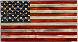 """Handmade Rustic Wood American Flag 18.5""""x 9.75""""x 1.5"""" with Carved 50 Star Union Patriotic Wall Art"""