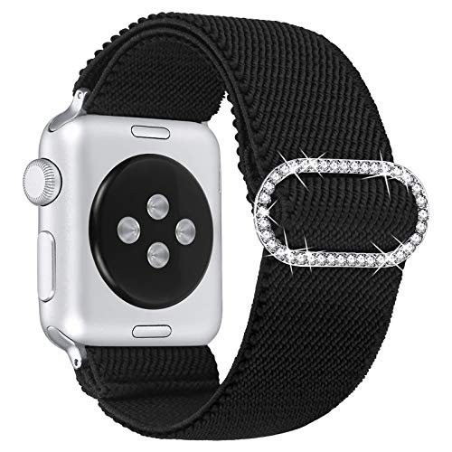 fastgo Adjustable Elastic Watch Band Compatible with Apple Watch 38mm/40mm/42mm/44mm,Stretch Bracelet Women Strap Replacement Wristband for Iwatch Series SE/6/5/4/3/2/1 (Black, 42mm/44mm)