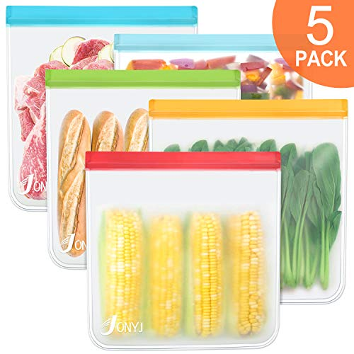 Reusable Gallon Storage Bags 5-Pack, LEAKPROOF Freezer Bags, EXTRA THICK Gallon Ziplock Bags for Marinate Meats, Vegetables, Fruit, Cereal, Sandwich, Snack, Travel Items, Meal Prep, Home Organization