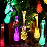 Cadena de Luce Solar Navidad 30 LED de Gota de Agua de Energía Impermeable para Navidad de Colore (Multicolor) Decoración Led Guirnalda Luces (Multicolor)