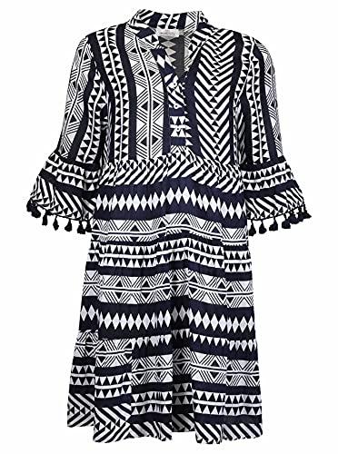 Zwillingsherz Strandkleid im Aztek-Muster mit Tasseln – Hochwertiges Sommerkleid für Damen Frauen Mädchen - Abendkleid Freizeitkleid - Locker luftig leicht- Perfekt für Frühling Sommer Herbst - Navy