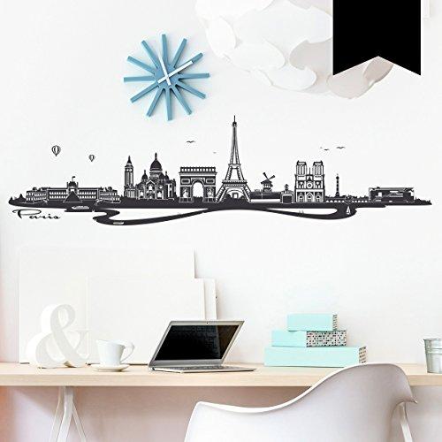 WANDKINGS Wandtattoo Skyline Paris (mit Sehenswürdigkeiten und Wahrzeichen der Stadt) 100 x 26 cm schwarz - erhältlich in 33 Farben