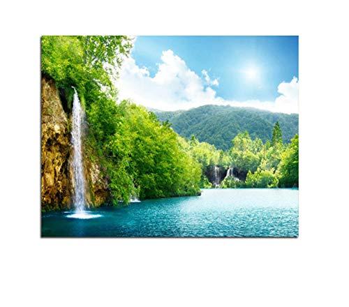 Con marco Pintura al óleo DIY Imagen Cascada Dibujo sobre lienzo Pintura al óleo a mano para colorear Lago Paisaje Pintura por números 40x50cm