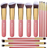 14PCS Makeup Brushes Set Synthetic Kabuki Makeup Brush Cosmetics Foundation Blending Blush Eyeliner Face Powder Brush Makeup Brush Kit(Pink&Gold)