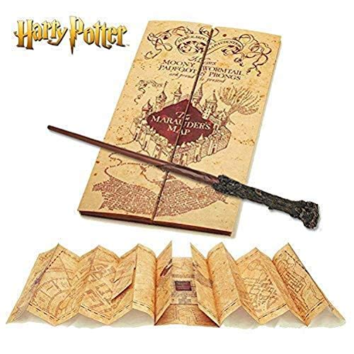 HARRY POTTER Baguette & Harry Potter Marauders Carte Collection complète | Authentique Merchandise | Ultime Cadeaux Edition Collector