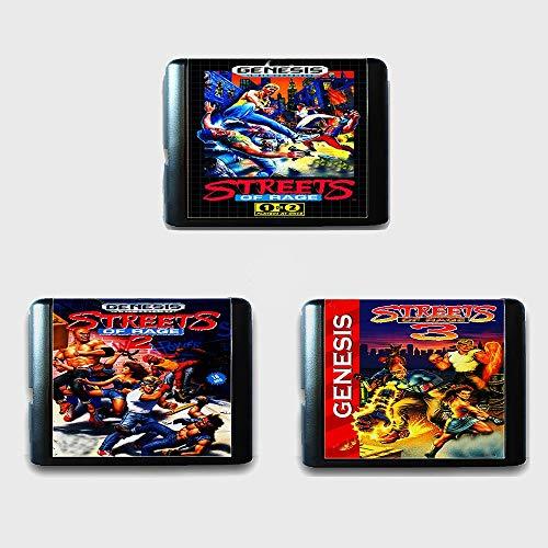 Jhana Streets Of Rage 1 2 3 Cartucho de juego Sega MD de 16 bits para Mega Drive para Genesis (3 piezas)