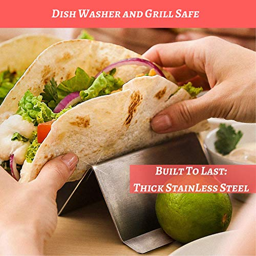 Taco Holder 4 Pack | Stainless Steel Taco Stand | No Slip Side Handles | Metal Racks Holders for Taco Shell, Tortilla And More | Oven And Grill Safe